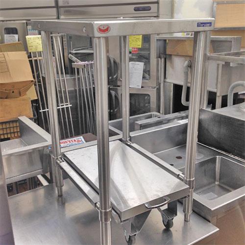 【中古】炊飯台車付き作業台 幅450×奥行600×高さ800 【送料無料】【業務用】