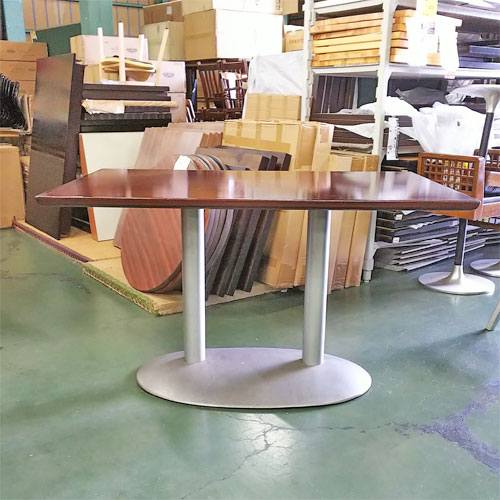 【中古】テーブル 脚シルバー2本 ポール 幅1200×奥行750×高さ700 【送料別途見積】【業務用】