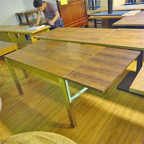 【中古】木製テーブル拡張あり 幅1600×奥行750×高さ700 【送料別途見積】【業務用】
