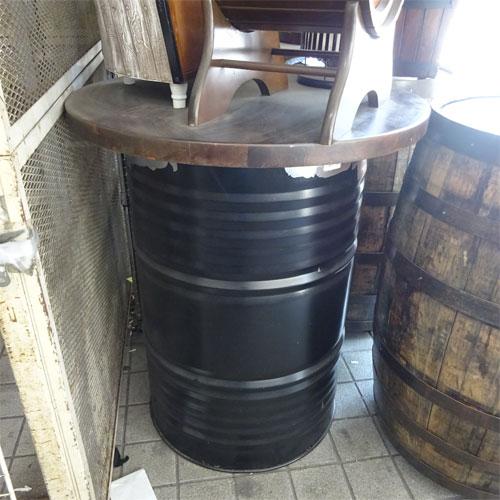 【中古】ドラム缶テーブル 幅795×奥行795×高さ930 【送料別途見積】【業務用】