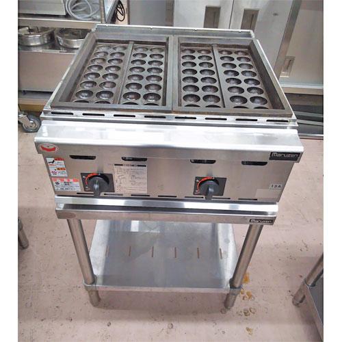【中古】ガスたこ焼き器 マルゼン MGKT-2 幅600×奥行650×高さ890 都市ガス 【送料無料】【業務用】【厨房機器】