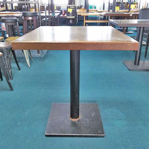 【中古】角テーブル BR 木縁 角ベース黒 幅750×奥行650×高さ750 【送料無料】【業務用】