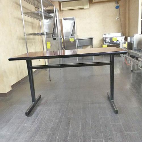 【中古】テーブル 赤褐色 枠黒 幅1200×奥行750×高さ710 【送料無料】【業務用】