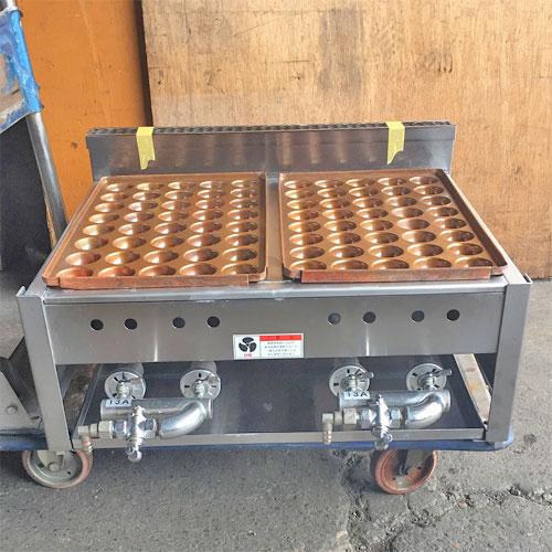 【中古】銅版たこ焼き器 幅590×奥行600×高さ300 都市ガス 【送料別途見積】【業務用】【厨房機器】