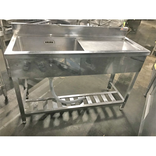 【中古】一槽水切りシンク BG 幅1200×奥行450×高さ800 【送料別途見積】【業務用】