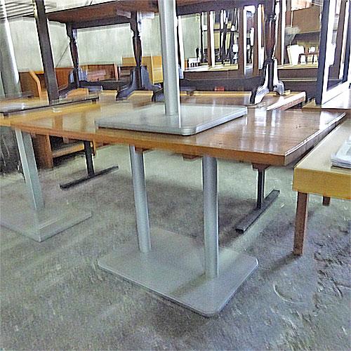 【中古】洋風テーブル ナチュラル銀角脚1 幅1240×奥行695×高さ730 【送料別途見積】【業務用】