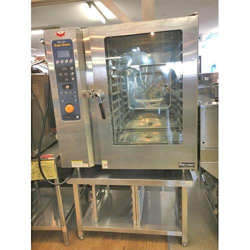 【中古】スチーコンベクションオーブン 架台付き マルゼン SSC-10DC 幅1030×奥行750×高さ1100 三相200V 【送料別途見積】【業務用】