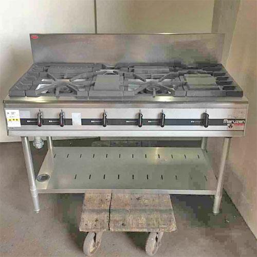 【中古】ガステーブル マルゼン MGTX-126C 幅1200×奥行600×高さ800 都市ガス 【送料別途見積】【業務用】