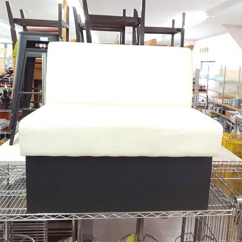 【中古】ベンチシート 座面白 幅850×奥行600×高さ785 【送料別途見積】【業務用】