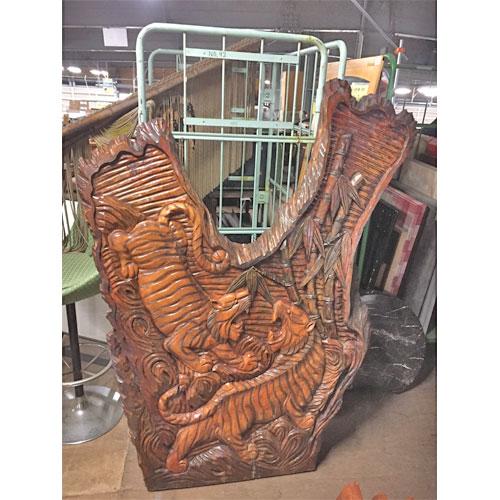 【中古】木彫り衝立 幅1250×奥行100×高さ1600 【送料別途見積】【業務用】