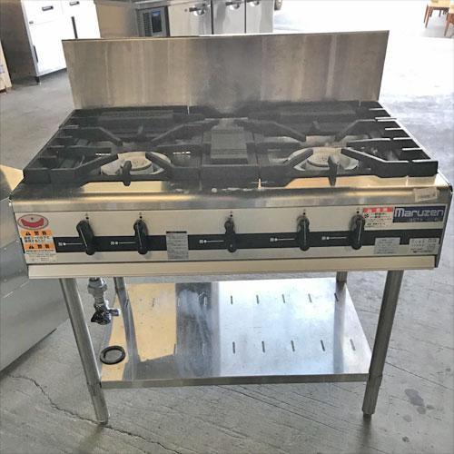 【中古】ガステーブル マルゼン MGTX-096E 幅900×奥行600×高さ800 LPG(プロパンガス) 【送料別途見積】【業務用】