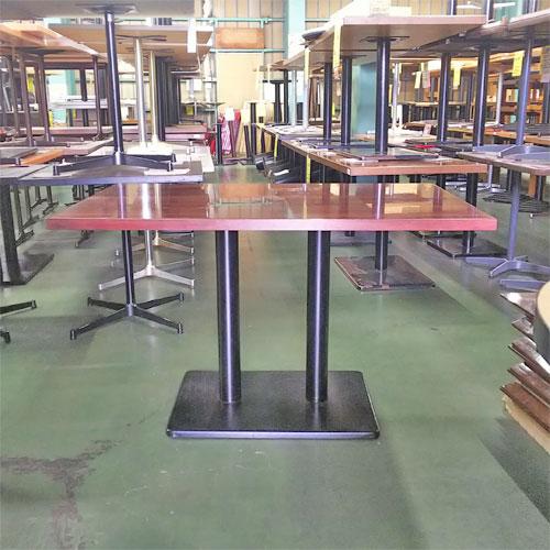 【中古】テーブル 天板ブラウン 脚 2ポール 幅1200×奥行720×高さ730 【送料別途見積】【業務用】