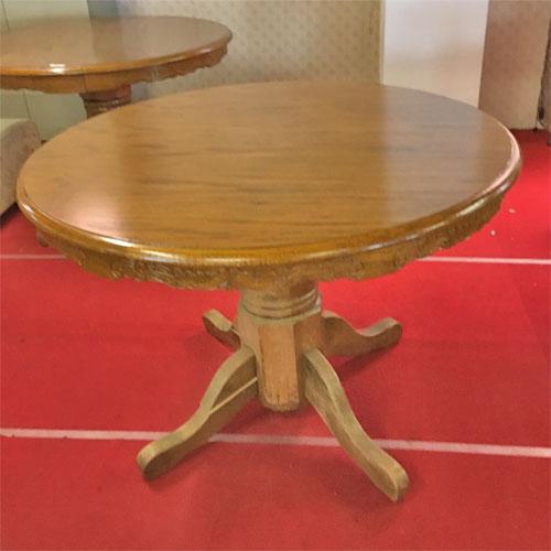 【中古】アンティーク調木製丸テーブル 幅1050×奥行1050×高さ800 【送料無料】【業務用】