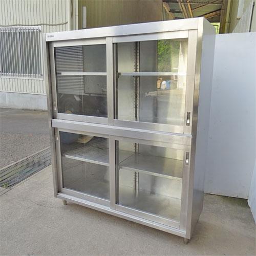 【中古】食器戸棚(ガラス戸) 幅1400×奥行500×高さ1800 【送料別途見積】【業務用】