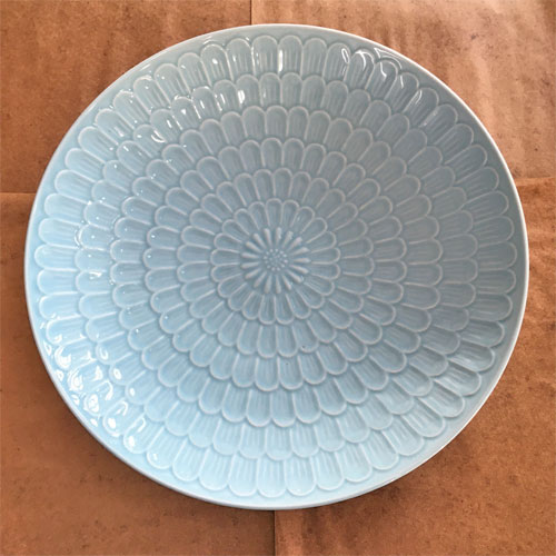 【中古】大皿 水色 幅335×高さ50 【送料無料】【業務用】