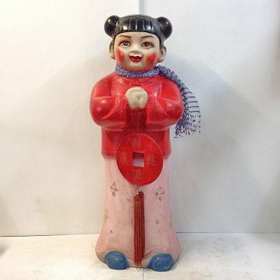 【中古】中華人形女の子(サインドール) 幅390×奥行360×高さ1140(mm)【送料別途見積】