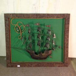 【中古】壁飾「帆船」 幅1220×奥行60×高さ1050(mm)【送料無料】