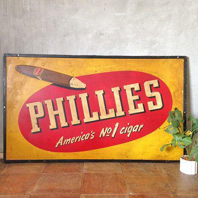 【中古】レトロブリキ看板「PHILLIES」 幅1480×奥行25×高さ885(mm)【送料無料】