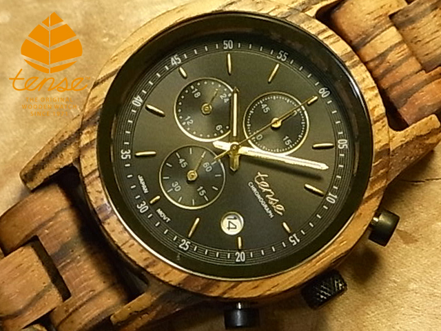 テンス【tense】クロノグラフモデル No.506 ゼブラウッド使用1971年創業のカナダ木工専門技を結集し、匠が創り上げたTENSE木製腕時計(ウッドウォッチ)。テンス社日本総輸入元公式販売サイト。【日本総輸入元のメンテナンス保証付】