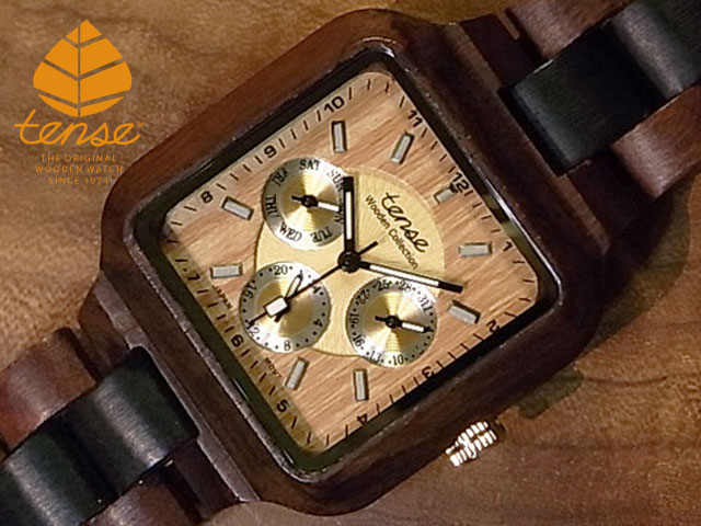 テンス【tense】スクエアモデル No.121 サンダル&ダークサンダルウッド使用1971年創業のカナダ木工専門技を結集し、匠が創り上げたTENSE木製腕時計(ウッドウォッチ)。テンス社日本総輸入元公式販売サイト。【日本総輸入元のメンテナンス保証付】