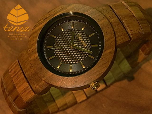 チーク使用1971年創業のカナダ木工専門技を結集し、匠が創り上げたTENSE木製腕時計(ウッドウォッチ)。テンス社日本総輸入元公式販売サイト。【日本総輸入元のメンテナンス保証付】 No.26 テンス【tense】ラウンドブレスレットモデル