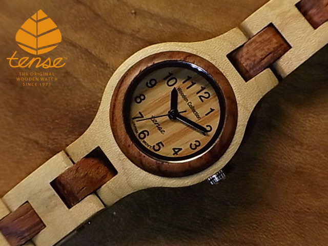 No.142メイプルウッド&ローズウッド使用1971年創業のカナダ木工専門技を結集し、匠が創り上げたTENSE木製腕時計(ウッドウォッチ)。テンス社日本総輸入元公式販売サイト。【日本総輸入元のメンテナンス保証付】 テンス【tense】シグネチャーL7509モデル