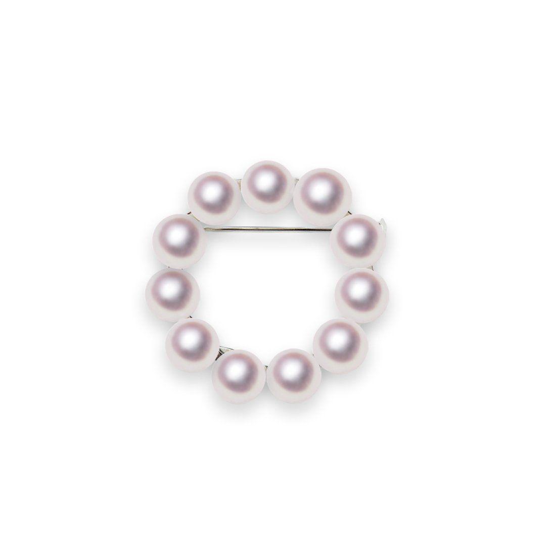 SV 7.5mm アコヤ真珠ブローチ 宇和島 真珠 ジュエリー・アクセサリー・Tensei Pearl 天成真珠