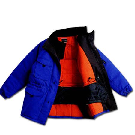 作業服 防寒着 作業着 冷凍倉庫用 防寒コート サンエス BO8000 ST8000 作業用ブルゾン ジャケット ジャンパー 冷蔵庫用 M~4Lサイズ ブルー×ブラック