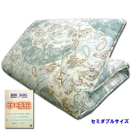 増量 高級 羊毛混敷き布団 3層式 しき布団 セミダブルロング ニュージーランド ウール 日本製 グリーン ペイズリー 120x210cm