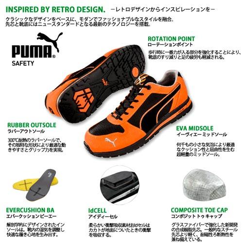 安全靴安全运动鞋PUMA SAFETY彪马安全鞋Air twixt Low No.64.332.0 No.64.323.0树脂的前方芯(绿/橙子)24.5-28.0cm