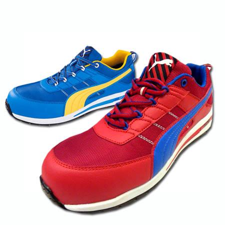 安全靴 安全スニーカー PUMA SAFETY  プーマ セーフティシューズ Kickflip Low 樹脂先芯 耐熱 クッション 衝撃吸収 (赤/青) 24.5~28.0cm