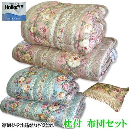 気持いい無圧式 ホロフィル布団セット 枕2個付 花柄 ダブル ピンク