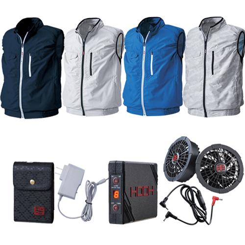 空間冷却 男女兼用 作業服 ブルゾン 在庫一掃売り切りセール ジャケット 空調ウェア ファン付き バッテリーセット M~3L 快適ウェア プレゼント ベスト HOOH V8300+V1301+V1302 村上被服 送料無料