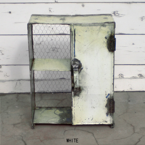 アイアン ハーフドア シェルフ / ドラム缶リユース材 カラー6色 / ドア付き 扉付き 男前家具 ビンテージ風 廃材利用 (KMN-087)