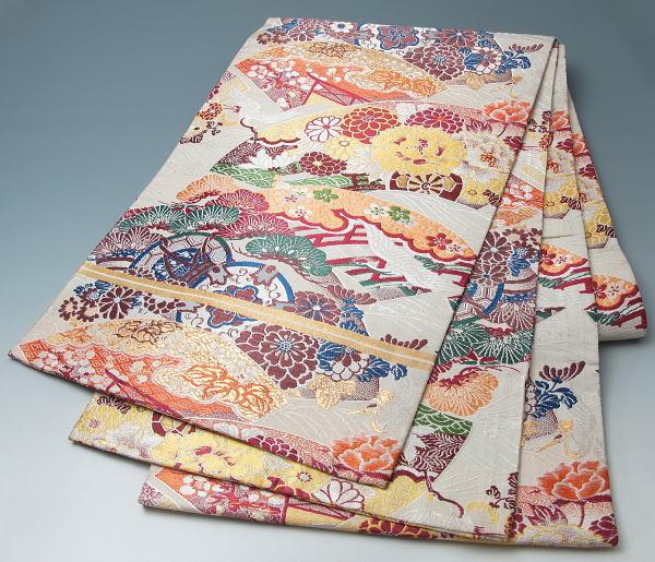 きもの アンティーク丸帯 丸帯 着物買い取り 着物セット リサイクル帯 アンティーク着物 きもの天陽 着物買取 帯 正絹 きものてんよう】 リサイクル帯 扇面御所解き文 kimono 中古品 着物 【中古】【リサイクル着物