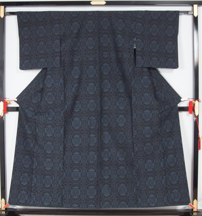 結城紬 洋風更紗模様 紬 着物 正絹送料無料リサイクル 紬 リサイクル紬リサイクル着物 品 着物 帯 きもの 正絹QxeCrBWdo