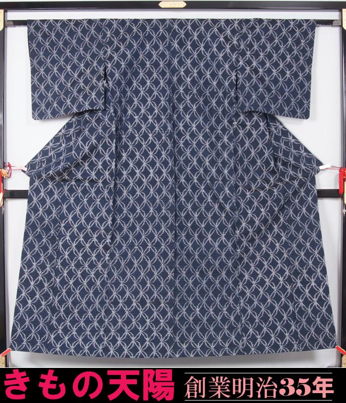 単衣 着物 紬 葉繋ぎ模様 プチサイズ 正絹 きもの ★【中古】【リサイクル着物 中古品 着物 帯 きもの 正絹 kimono リサイクル帯 着物セット アンティーク着物 着物買い取り 着物買取 きもの天陽 きものてんよう】