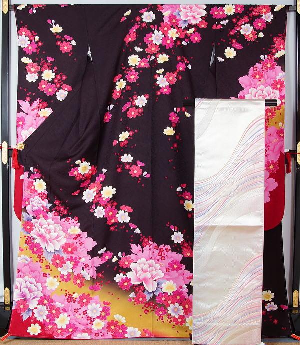 新品仕立て上がり品 振袖セット 振袖・袋帯・長襦袢セット☆裄長サイズ 7 送料無料【 リサイクル 振袖 リサイクル振袖 】【リサイクルきもの・リサイクル着物・通販・販売・アンティーク着物・着物買い取り・きもの天陽 kimono 中古品(AY)