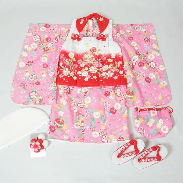 【新品】三歳女児用七五三一式セット(3)★【リサイクルきもの・リサイクル着物・通販・販売・アンティーク着物・着物買い取りの専門店・りさいくるきものてんよう】「A」 kimono 中古品(Y)