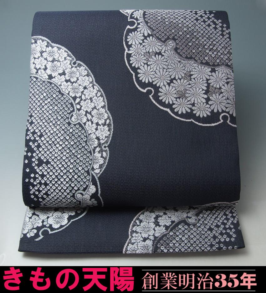 【 新品 芯入れ 仕立て上り 】夏物 袋帯 西陣織 絽 (2) 花雪輪紋 正絹 (日本製)  送料無料 【リサイクルきもの・リサイクル着物・通販・販売・アンティーク着物・着物買い取りの専門店・A