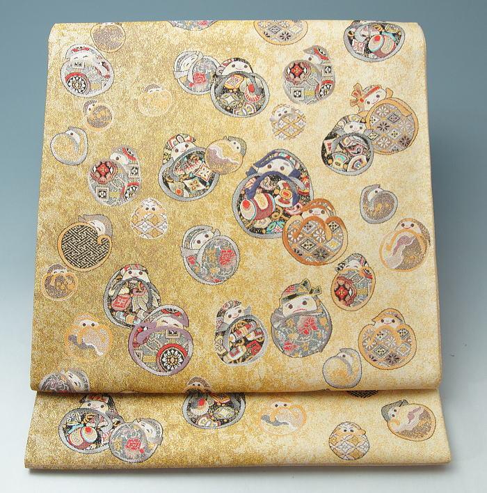 【新品・芯入仕立上がり品】西陣織袋帯(2)吉祥だるま模様★送料無料【リサイクルきもの・リサイクル着物・通販・販売・アンティーク着物・着物買い取りの専門店・りさいくるきものてんよう】「A」 kimono (Y)