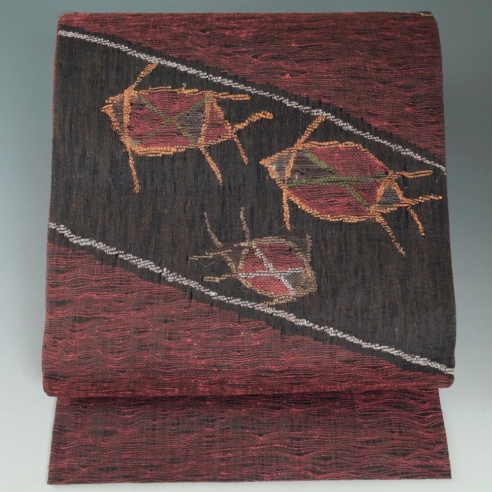 洒落袋帯 抽象模様 焦げ茶色 六通柄 カジュアル 袋帯 帯 中古 リサイクル着物 人気急上昇 海外 正絹 送料無料 OYA 洒落もの 和服 紅紫色 着物 など リサイクル obi