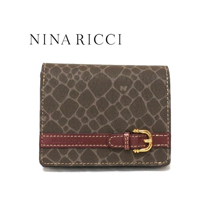 NINA RICCI ニナリッチ 財布 二つ折り ボックス小銭入れ ボルドー レディース 新品 box 四角 さいふ サイフ