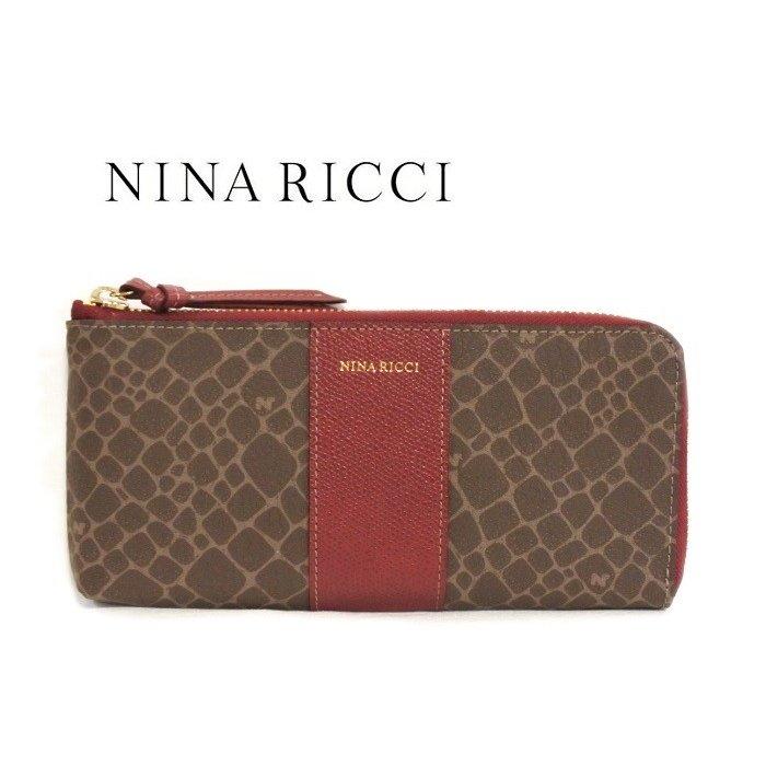 NINA RICCI ニナリッチ 長財布 L字ファスナー ワイン レディース 薄型 サイフ