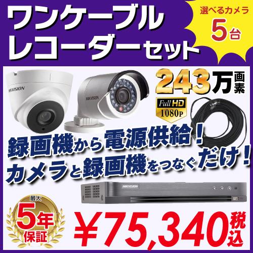 防犯カメラ 監視カメラ 5台 屋外用 屋内用 から選択 防犯カメラセット 監視カメラセット 8ch HD-TVI ワンケーブル 録画機 /HDD別売 FIXレンズ 赤外線付き バレット型 ドーム型 ワンケーブルカメラ 遠隔監視可