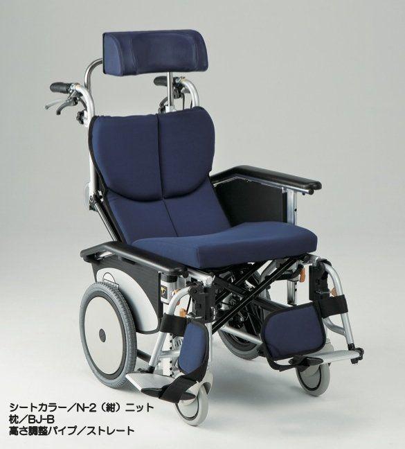 松永製作所 オアシスポジティブシリーズ ティルト&リクライニング連動式コンパクト車いす 前折れジョイントタイプ 介助式車いす OS-12TRSP N-2(紺)ニット