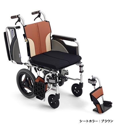 【送料無料】ミキ 介助型 車いすSKT-200Bノンバックブレーキスレンダー車いすパンチングレザーシート採用とまっティシリーズ