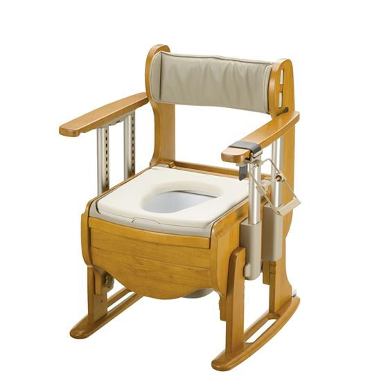 リッチェル 木製トイレ きらく 座優 肘掛昇降 標準仕様 やわらか便座 18680