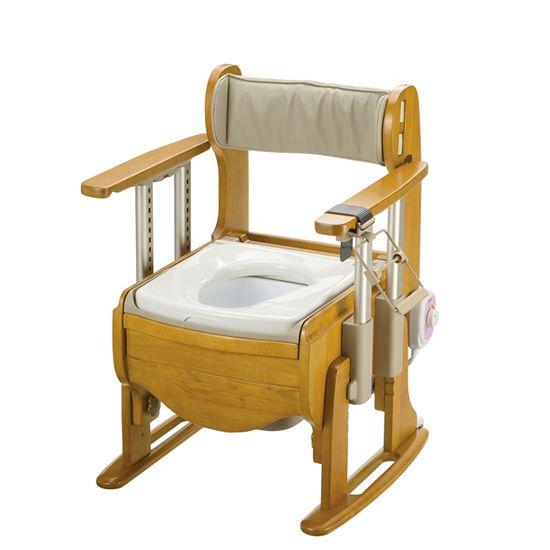 リッチェル 木製トイレ きらく 座優 肘掛昇降 標準仕様 暖房便座 18690