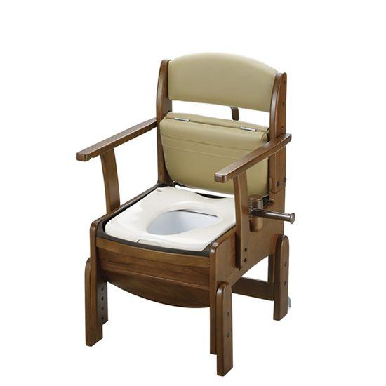 リッチェル 木製トイレ きらく コンパクト (固定式肘掛けタイプ) 普通便座 18510